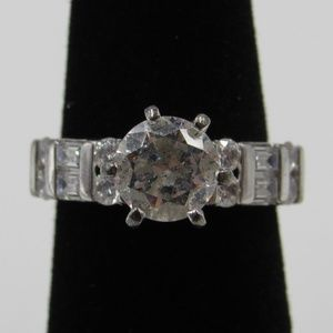 Vintage Size 5 Sterling Rustic CZ Diamond Ring